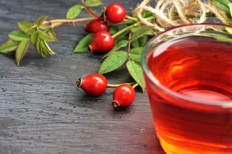 Owoc i herbatka z dzikiej róży