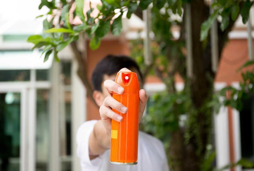 Odstraszanie muszek owocówek z wykorzystaniem sprayu na owady w butelce z atomizerem przez małego chłopca stojącego przed domem