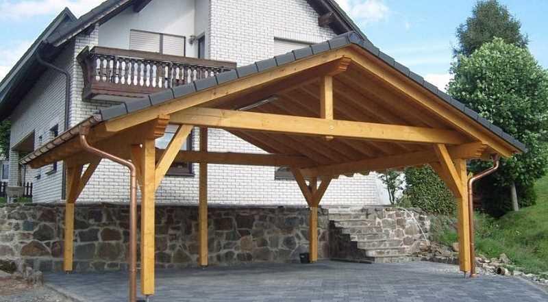 Wiata drewniana, a także podpowiedzi, jak i gdzie garażować samochód krok pokroku
