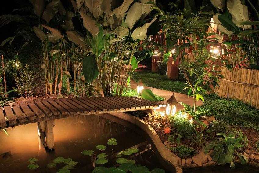 Oświetlenie oczka wodnego może sprawić, że ogród będzie wyglądał jak tajemnicze miejsce z bajki. Lampki solarne i lampy LED bardzo dobrze się sprawdzają w ogrodzie.