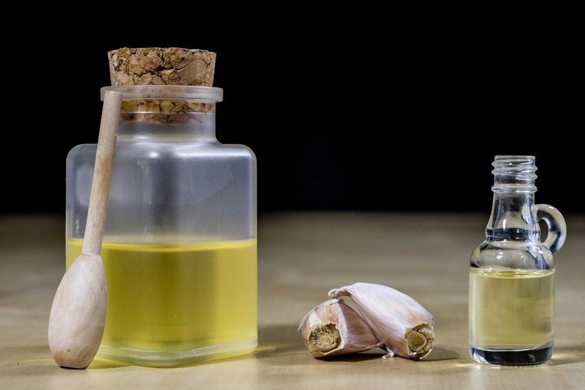 Nalewka tybetańska, a dokładniej tybetańska nalewka czosnkowa w buteleczce oraz ząbki czosnku do jej przygotowania