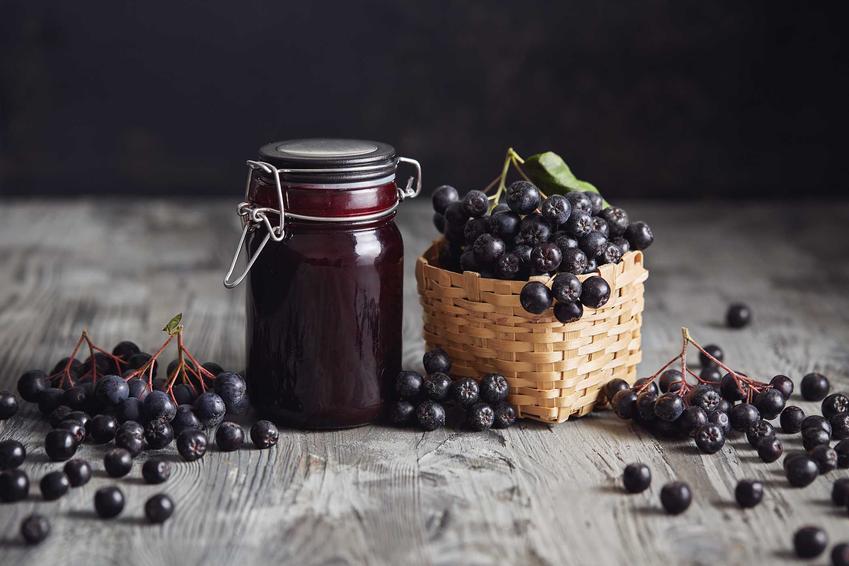 Dżem z aronii w słoiku oraz owoce aronii, a także przepisy na przetwory z aronii, jak dżem z aronii i jabłek
