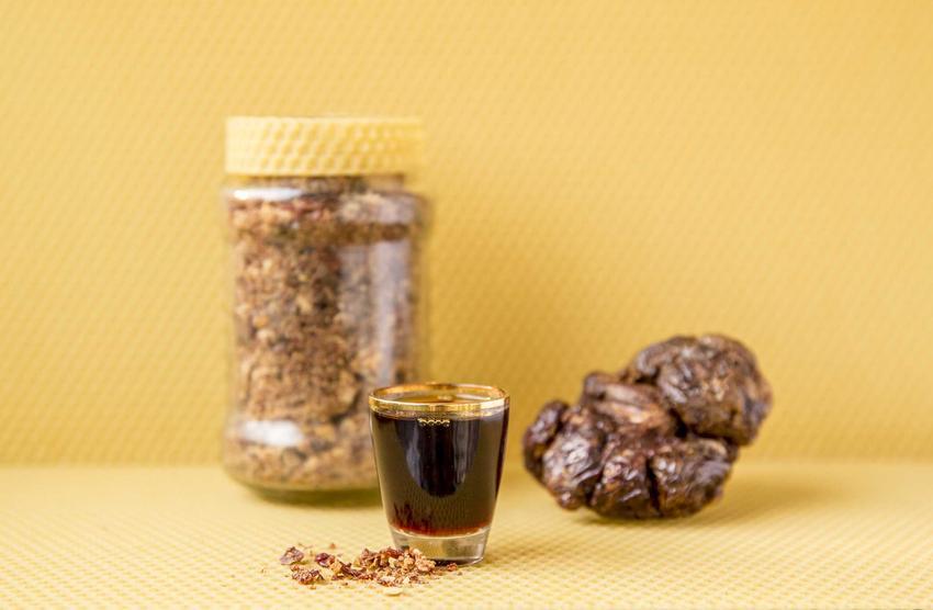 Nalewka z propolisu, czyli nalewka z kitu pszczelego w kieliszku oraz leżący obok propolis, a także najlepsze przepisy