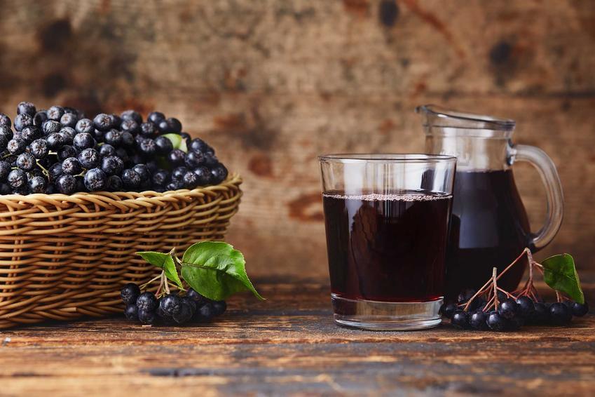 Aronia czarna i sok z aronii w dzbanku oraz przepis na to, jak zrobić sok z aronii, czyli sok aroniowy