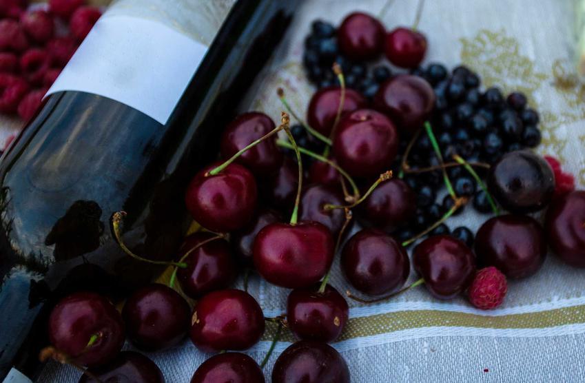 Wino z wiśni w butelce oraz świeże wiśnie, a także wino wiśniowe i porady, jak zrobić wino z wiśni