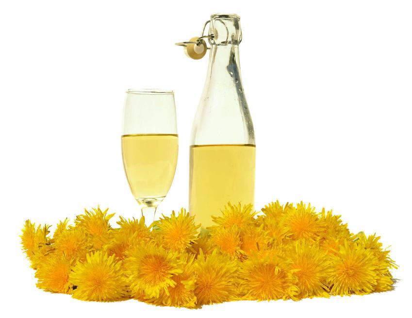 Wino z mniszka lekarskiego czy też wino z mleczy w kieliszku i żółte kwiaty, a także przepisy na wino mniszkowe