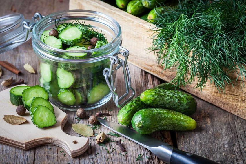 Ogórki z kurkumą przed przygotowaniem w słoiku i na desce oraz najlepsze przepisy na przetwory z ogórków z kurkumą