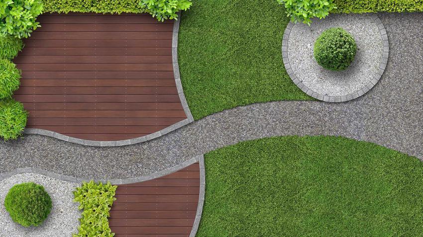 Nowoczesny ogród przed domem z lotu ptaka, czyli nowoczesne ogrody i projekty ogrodów nowoczesnych, a także aranżacje nowoczesnych ogrodów
