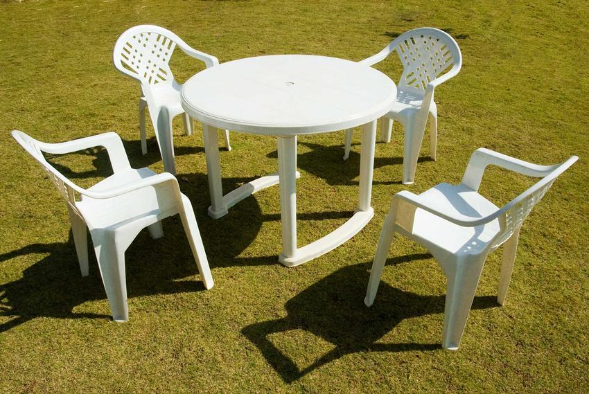 Białe plastikowe meble ogrodowe, stół z krzesłami oraz producent plastikowych mebli i opinie na jego temat