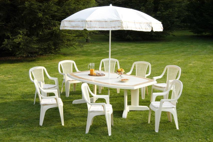Plastikowe meble ogrodowe i parasol w ogrodzie oraz polecany producent plastikowych mebli do ogrodu i na taras