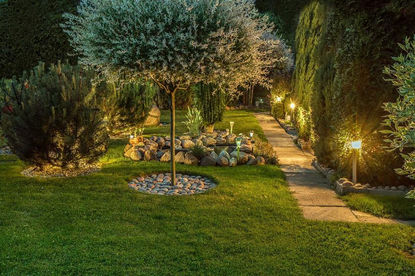 Pięknie oświetlony ogród oraz lampy solarne do ogrodu, czyli oświetlenie solarne nadające uroku ogrodowi w nocy
