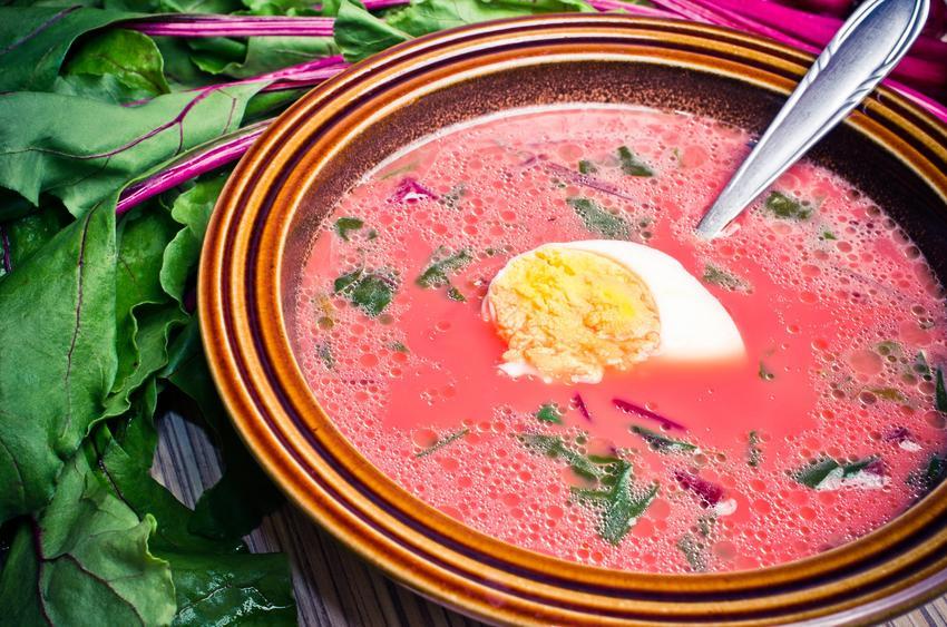 Zabielana zupa z botwiny na talerzu oraz przepis na gotowanie botwiny