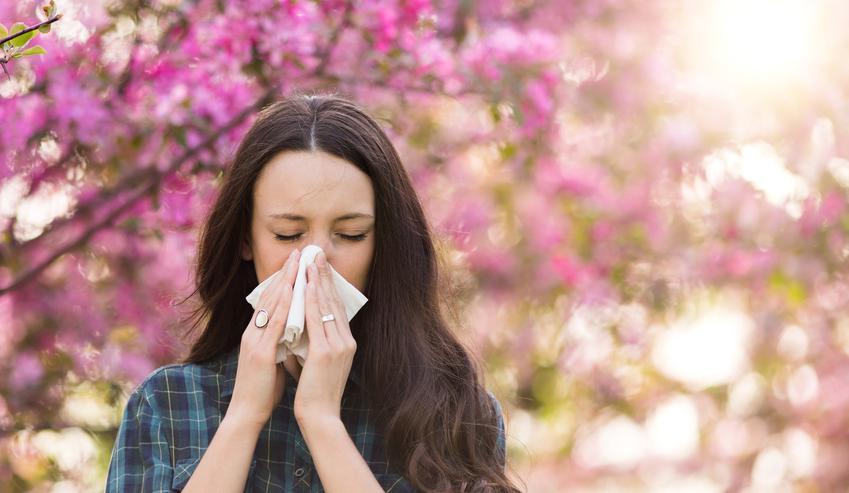 Kobieta kichająca na tle kwitnącego drzewa, a także kalendarz pylenia dla alergików, w tym pylenie traw