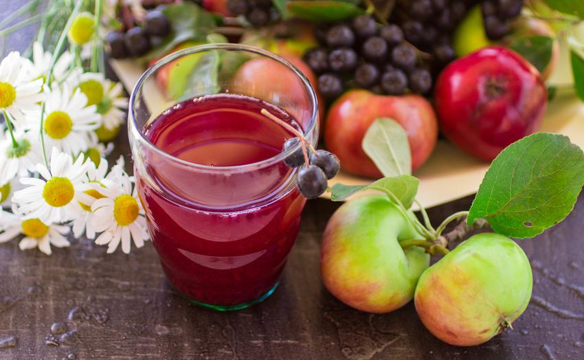 Kompot z aronii i jabłek w szklance, a także przepis na kompot z aronii
