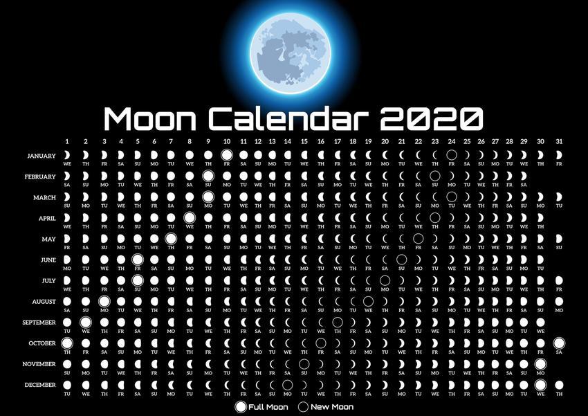 Kalendarz księżycowy ogrodnika na czarnym tle, czyli co mówi horoskop księżycowy