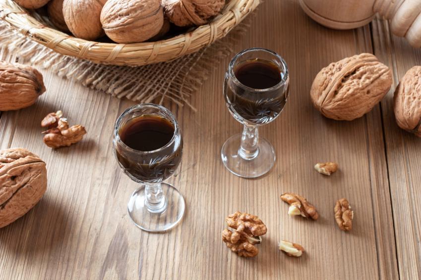 Orzechówka w kieliszkach i orzechy włoskie na stole, a także nalewka z orzecha włoskiego na pasożyty