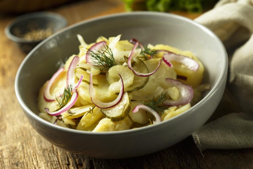 Sałatka do obiadu z kiszonych ogórków i cebuli i surówka z ogórków kiszonych