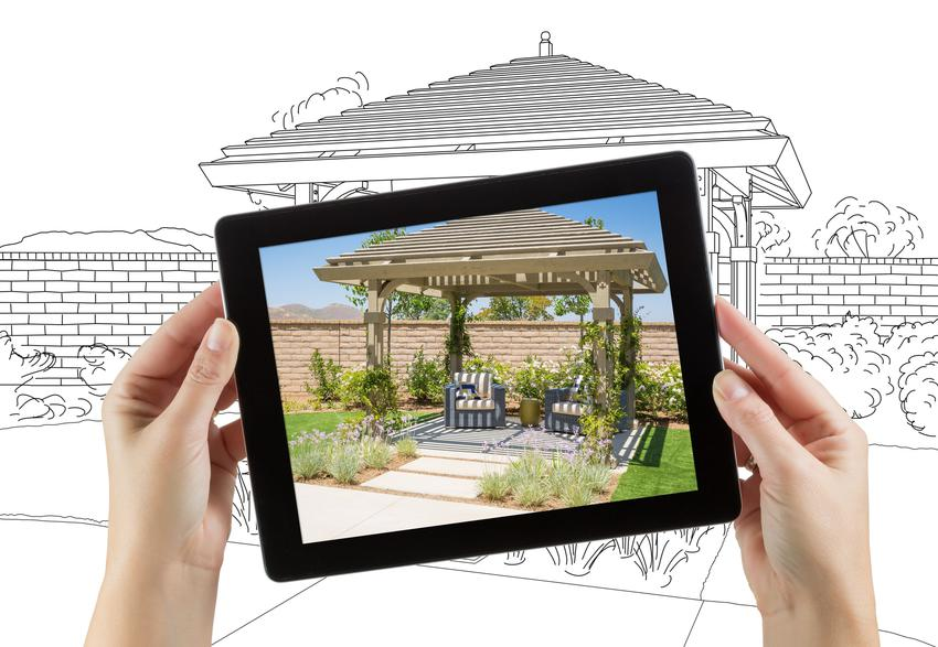 Tablet z projektem ogrodu, a także program do projektowania ogrodu