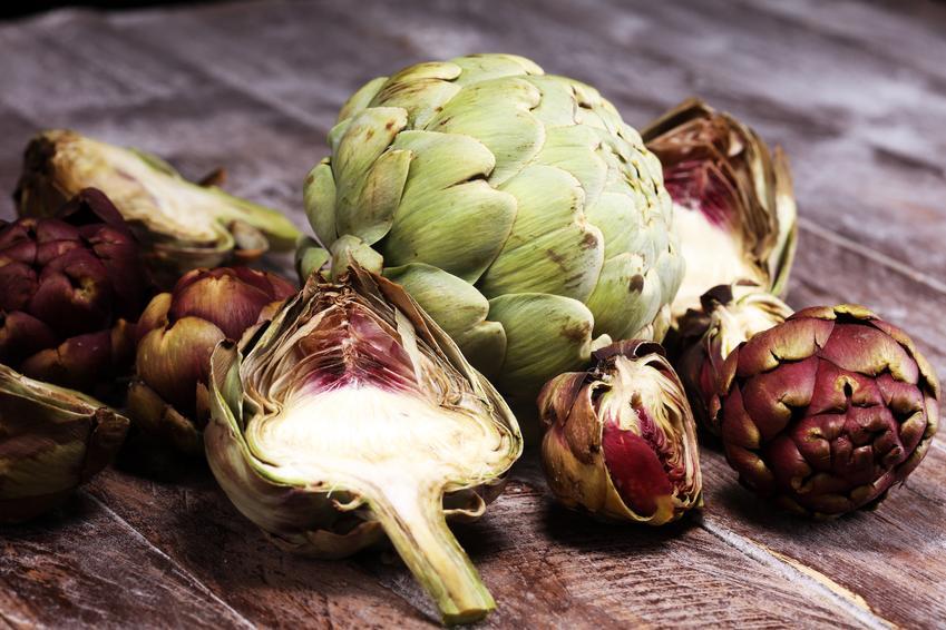 Warzywa karczochy Cynara scolymus na drewnianym stole, czyli uprawa i jak jeść