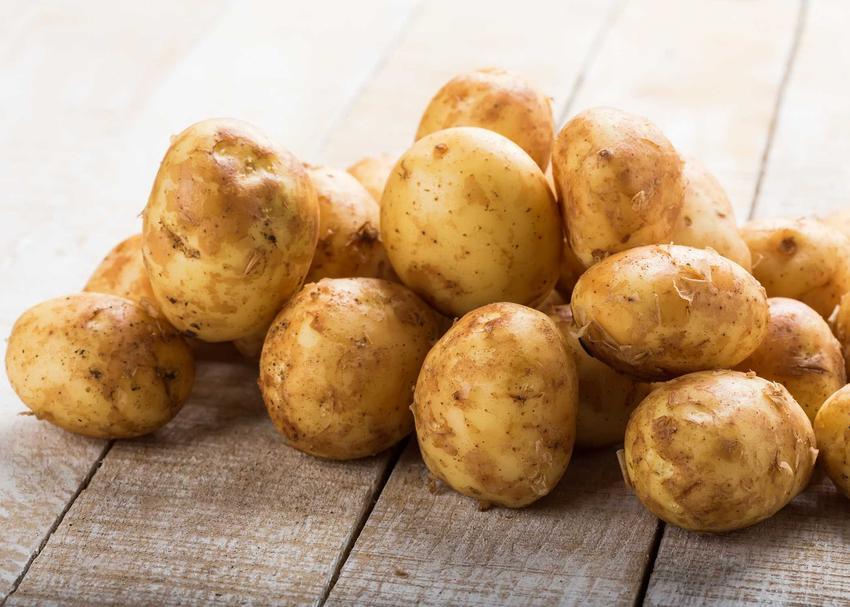 Ziemniaki Lord lezące w stosiku na starym stole, a także charakterystyka, wymagania, pielęgnacja, cena ziemniaków, zastosowanie