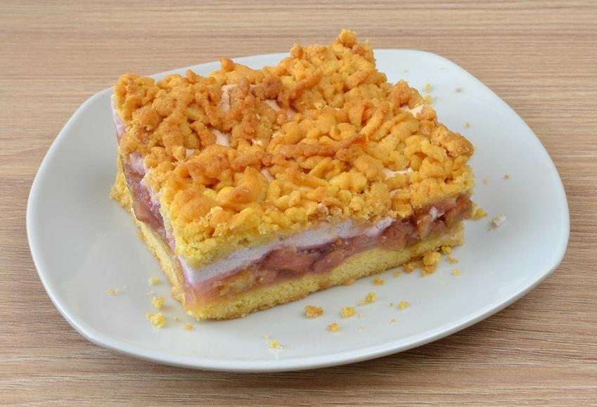 Ciasto z budyniem i rabarbarem na białym talerzu oraz najlepsze przepisy na proste i szybkie ciasta do zrobienia krok po kroku