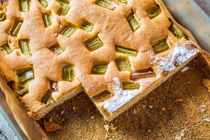 Biszkopt z rabarbarem w blaszanej foremce na ciasto, a także najlepsze przepisy na biszkopt z rabarbarem krok po kroku