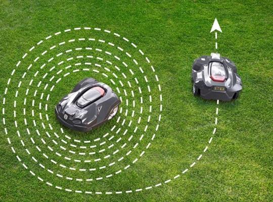 spiralne koszenie trawy robotem Husqvarna